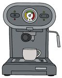 The gray electric espresso maker. The vectorized hand drawing of a gray electric espresso maker and the white coffee cup stock illustration