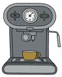 The gray electric espresso maker. The vectorized hand drawing of a gray electric espresso maker and the yellow coffee cup vector illustration
