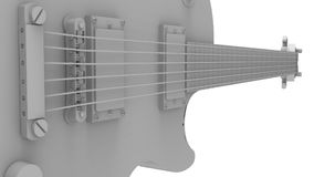 Gray electric guitar on white background. 3d rendering. Gray electric guitar on white background. 3d rendering Stock Images