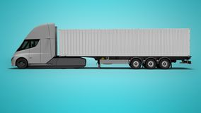 Gray electric tractor with white trailer right view 3d render on blue background with shadow. Gray electric tractor with white trailer right view 3d render on stock illustration