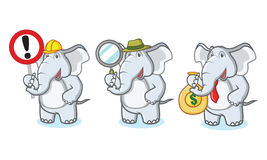 Gray Elephant Mascot con soldi Fotografia Stock Libera da Diritti