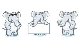 Gray Elephant Mascot felice Fotografia Stock Libera da Diritti