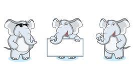 Gray Elephant Mascot feliz Foto de archivo libre de regalías