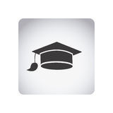 Gray emblem graduation hat icon. Illustraction design image Royalty Free Stock Photography