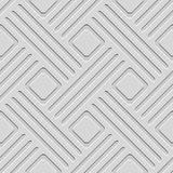 Gray embossed lines and squares seamless. Seamless abstract background. Gray embossed lines with cut out of paper effect and realistic shadow on gray Stock Images