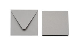 Gray envelope and card Stock Photo