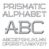 Gray faceted letters. Prismatic retro font. Isolated English alp Stock Photos
