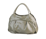 Gray fashion leather handbag Stock Images