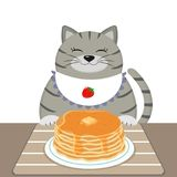 A gray fat cat in a bib also sits at a table and eats pancakes. Cartoon flat style. Vector Royalty Free Stock Photos