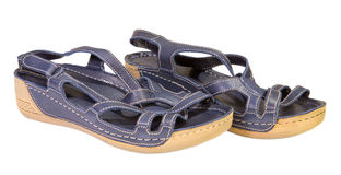 Gray female sandals Royalty Free Stock Photography