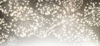 Gray festive banner with fireworks. Royalty Free Stock Image