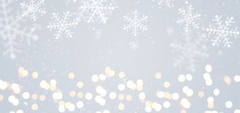 Gray festive Christmas background. Grey festive Christmas or New Year background with shiny golden baubles Stock Photos
