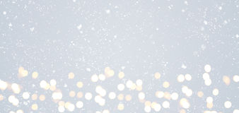 Gray festive Christmas background. Grey festive Christmas or New Year background with shiny golden baubles Royalty Free Stock Photography