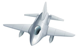 A gray fighter jet. Illustration of a gray fighter jet on a white background Royalty Free Stock Image