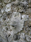 Fish Face Stone Carved Sculpture on Rock Wall Grotto Royalty Free Stock Photography