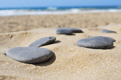 Gray flat stones on the sand of a beach. Closeup of some gray flat stones on the sand of a beach Stock Images