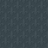 Gray fleur de lis royal lily seamless pattern. Background or wallpaper design illustration Stock Photography