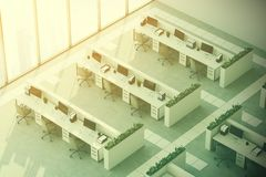 Gray floor office, top view, toned. Top view of a modern office interior with panoramic windows, a gray floor, white walls and rows of computer desks. 3d Royalty Free Stock Image