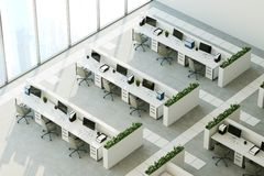 Gray floor office, top view. Top view of a modern office interior with panoramic windows, a gray floor, white walls and rows of computer desks. 3d rendering mock Royalty Free Stock Photos