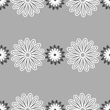 Gray Floral Pattern. Repeating different flowers on the gray background. Vector illustration Royalty Free Stock Photos