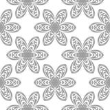 Gray floral pattern on white. Seamless background. Light gray floral ornament on white. Seamless pattern for textile and wallpapers Stock Photos