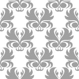 Gray floral pattern on white. Seamless background. Light gray floral ornament on white. Seamless pattern for textile and wallpapers Royalty Free Stock Photography