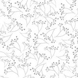Gray floral seamless pattern on white background Royalty Free Stock Photography