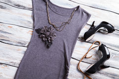 Gray flower applique top. Stock Photography