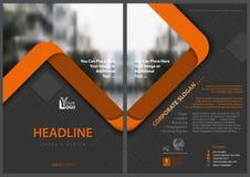 Gray Flyer Template con las rayas anaranjadas Imágenes de archivo libres de regalías