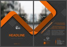 Gray Flyer Template With Orange Stripes Royalty Free Stock Images