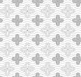Gray four pedal geometric flowers on continues lines Royalty Free Stock Image