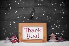 Gray Frame With Christmas Decoration, gracias, copos de nieve imagenes de archivo
