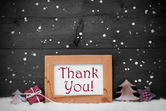 Gray Frame With Christmas Decoration, obrigado, flocos de neve imagens de stock