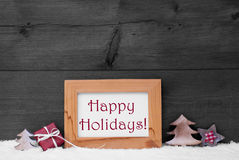 Gray Frame With Christmas Decoration, Schnee, frohe Feiertage stockfoto