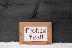Gray Frame, de Middelen Vrolijke Kerstmis van Frohes Fest, Sneeuw Stock Afbeeldingen