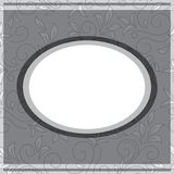 Gray frame on floral gray background - vector Stock Images