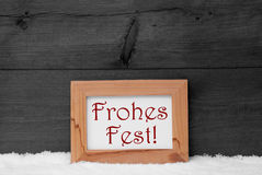 Gray Frame, Frohes Fest Means Merry Christmas, Snow Stock Images