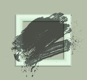 Gray frame green 01. Smudge and smear a brush in a frame, vector background, illustration clip-art stock illustration
