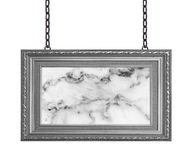 Gray frame marble signboard hanging a chain isolated on white ba Stock Photo