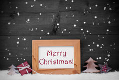 Gray Frame With Merry Christmas, snö och snöflingor Arkivbilder