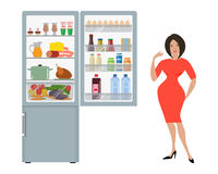 Gray fridge with open doors, a full of food.. Next to the refrigerator is a woman in a red dress and points at him with her hand. Vector flat illustration Stock Photos