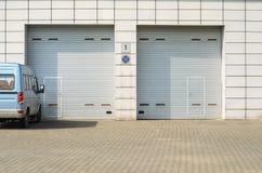 Gray Garage Gates stock photo