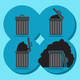 Gray garbage bin icon empty and full - mobile & web icon Stock Images