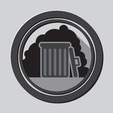 Full Gray garbage bin with trashicon with shadow in circle - mobile & web icon Royalty Free Stock Photography