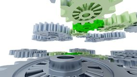 Between Gray Gears and Small Green Gears. With a white background royalty free illustration