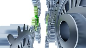Between Gray Gears with Small Green Gears. On a white background vector illustration