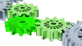 Gray Gears with Zoom effect on the One Green. On a white background royalty free illustration