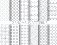 12 gray geometric rhombus  pattern 2. 12 rhombus patterns, Pattern Swatches, vector, Endless texture can be used for wallpaper, pattern fills, web page Stock Image