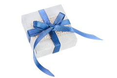 Gray gift box with blue ribbon Stock Image