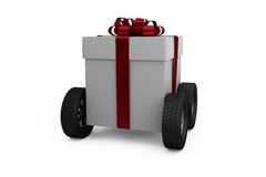 Gray gift box with wheels Stock Images